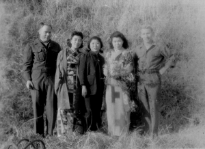 Gus and Gerry; a walk in the hills. Madame Butterfly is second from the right.