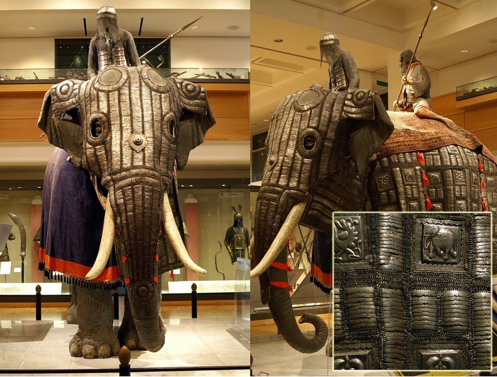 Museum exhibit of an elephant in armor. The head and sides are protected by armor.